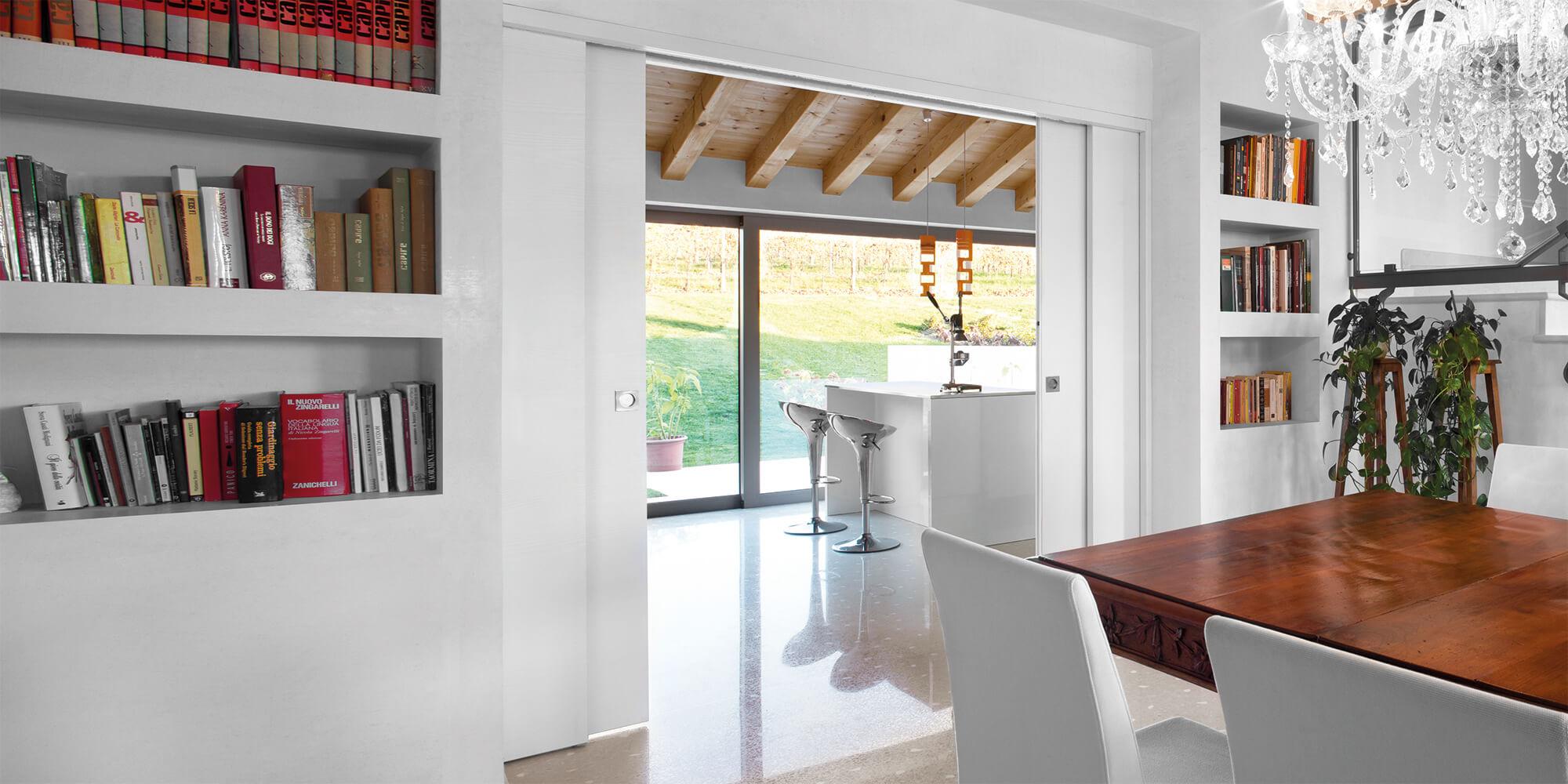 Porte coulissante galandage t lescopique extension for Epaisseur cloison porte a galandage