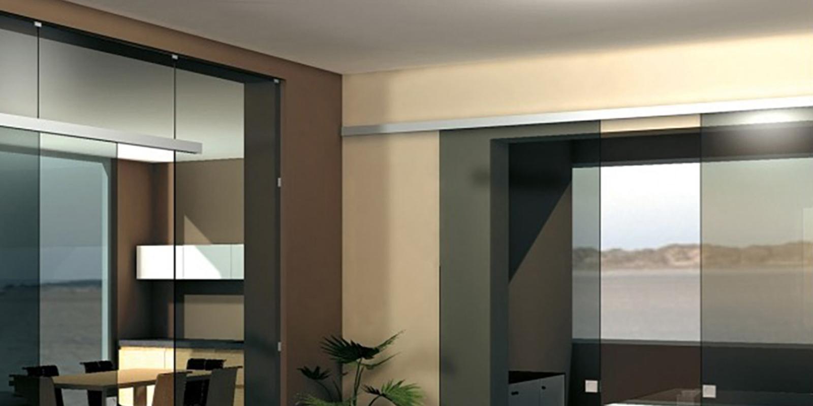 rail k754 pour porte coulissante tout verre pose en applique pose au plafond eclisse france. Black Bedroom Furniture Sets. Home Design Ideas