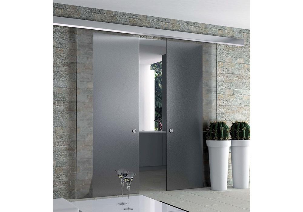 rail k751 pour porte coulissante tout verre pose en applique eclisse france. Black Bedroom Furniture Sets. Home Design Ideas