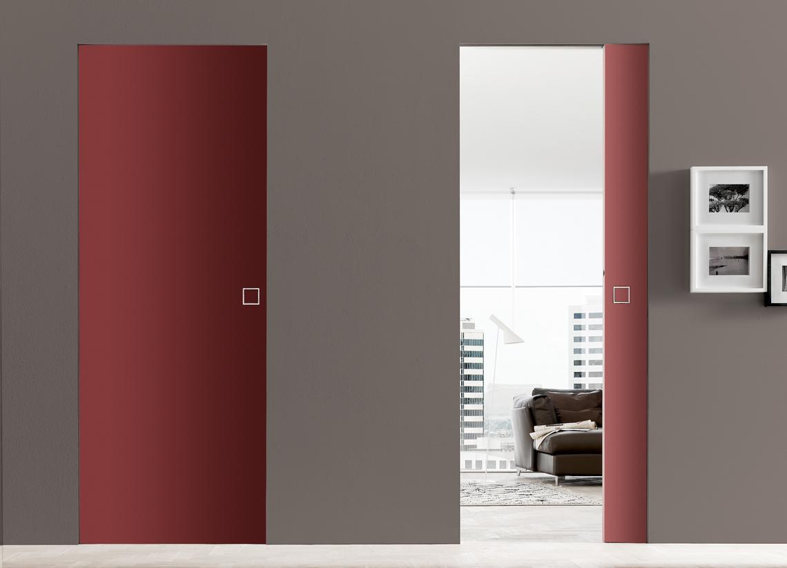 Porte d 39 int rieur design haut de gamme eclisse eclisse france - Porte coulissante rouge ...